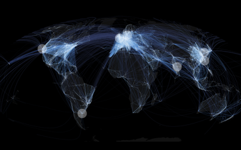 World map with flight paths