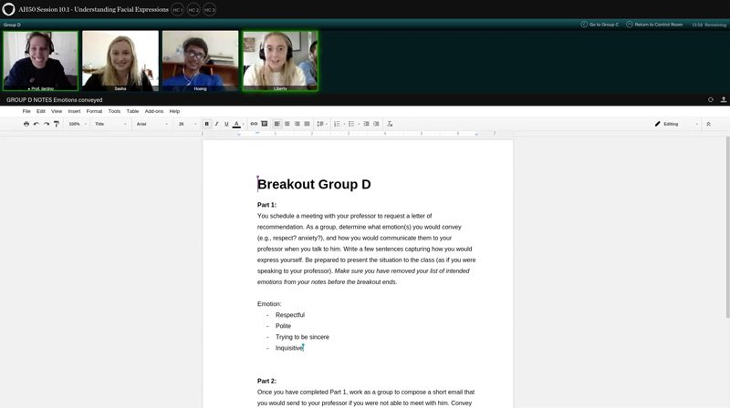 ALF classroom breakout group